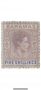 Bahamas 1938 KGVI 5sh Lilac and Blue Mint SG156 cat £170 toned