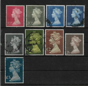 Great Britain lot of 9 stamps, Queen Elizabeth-II, VF USED (A-7)