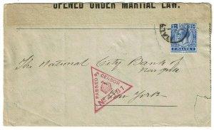 Malta 1917 cover to the U.S., censored