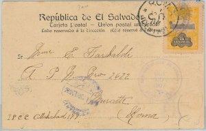 51089 -  EL SALVADOR -  POSTAL HISTORY - POSTCARD to ITALY 1907 - PRISON