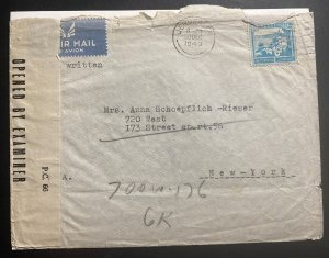 1943 Jerusalem Palestine Airmail Censored Cover To New York City USA