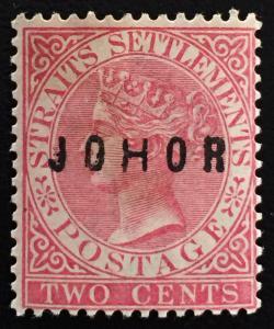 MALAYA 1885 JOHOR opt STRAITS SETTLEMENTS QV 2c MNG SG#11 WIDE H CV£120 M1378