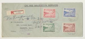 PAPUA -USA 1939 REG. OHMS COVER WITH 1sh6d AIRS, SECOND NOTICECACHET(SEE BELOW
