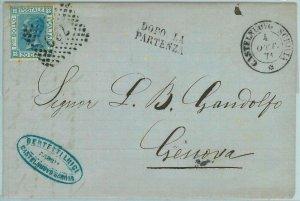 96984 - REGNO - STORIA POSTALE - Annullo numerale BUSTA da CASTELNUOVO Scri 1871
