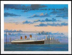 St. Vincent MNH S/S 1181 Famous Ocean Liner 1990