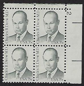 Catalog #1865 Plate Block of 4 Stamps Charles B Drew MD