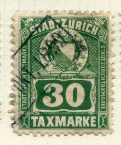 SWITZERLAND;   Early 1920s Canton Zurich TAXMARKE issue fine used 30. value