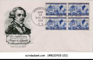 USA - 1952 175th ANNIVERSARY OF THE ARRIVAL IN AMERICA OF MARQUIS DE LAFAYETTE B
