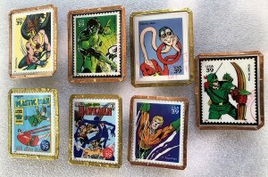 7 Different Stamp Pins Featuring USA Super Hero Stamps