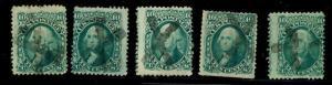 momen: US Stamps #68 5 singles w/ JAPAN X Cancel