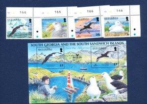SOUTH GEORGIA - # 339-343 - MNH set & S/S  - Birds - 2006