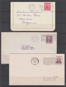 US Sc 690, 720, 726 FDCs, 1931-33 issues, 3 different, no cachets