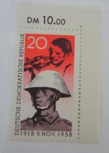 1958 Germany DDR SC #416 SOLDIER & WORKER MNH stamp
