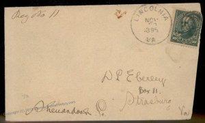 Virginia 1895 Lincolnia VA DPO Cancel Helbock R5 Registered Cover 92395