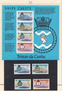 Tristan Da Cunha # 216-219 & 219a, Ships & Ship Crests, NH, 1/2 Cat.