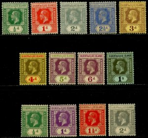 GILBERT & ELLICE Sc#14-22, 27-30 1912-27 KGV Part Set to 1sh OG Mint Most LH