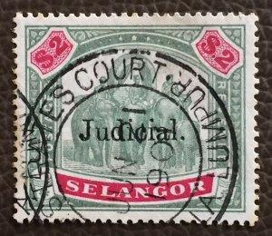MALAYA 1900 SELANGOR Elephants JUDICIARY opt $2 Used M3116