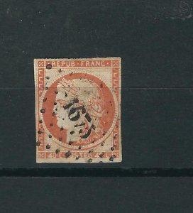 France 7b Y&T 5d 40c Orange on yellowish Used Fine 1850 SCV $5250.00