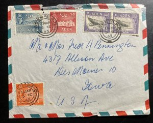 1963 Aden Airmail Commercial Cover To Des Moines IA Usa