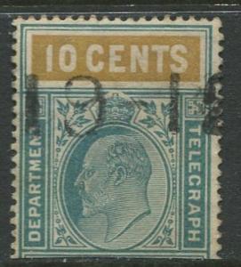 CEYLON - Scott ?- KEVII - Telegraph Stamp - 1903 ?- Used -Single 10c Stamp