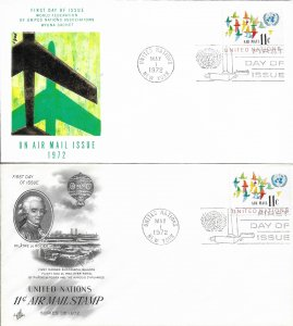 1972 Air Mail FDC, #C16 (NY), Air Mail Issue, 2 diff. cachets