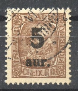 Iceland 1921 Overprints Scott # 130,  VF ++ used, no faults