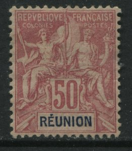 Reunion 1892 carmine on rose 50 centimes mint o.g.