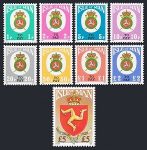 Isle of Man J17-J25,MNH.Michel P17-P25. Postage Due stamps 1982-92.Coat of Arms.