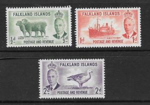 FALKLAND ISLANDS Scott #107-109 Mint  2018 CV $8.65