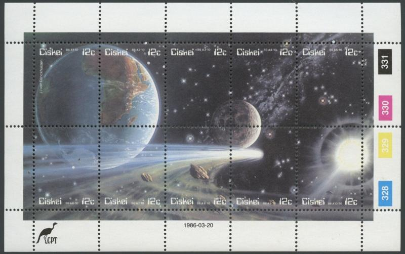 SOUTH AFRICA CISKEI #89 Never Hinged MS Complete Set (1) (Halley's Comet)