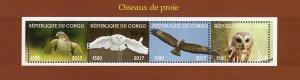 Congo 2017 Birds of Prey Owl Eagle 4v Mint Sheet. (#32)