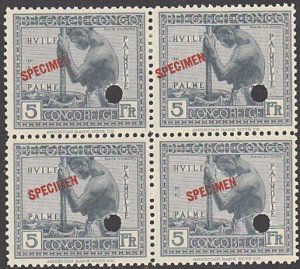 BELGIAN CONGO 1923 5f SPECIMEN opt in red + security punch hole blk of 4....7910