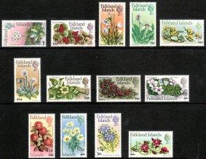 1971 Falkland Islands Flowers revalued complete set MNH Sc# 197 / 209 CV $33.30