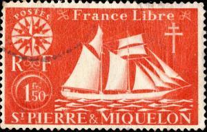 St-PIERRE-&-MIQUELON - 1942 - Yv.303/Mi.306 1fr50 rouge - Oblitéré B