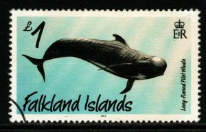 FALKLAND ISLANDS SG1238  2012 £1 WHALES & DOLPHIN  FINE USED