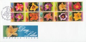 Norfolk Island 2003 FDC Sc #793 FDC Block of 10 Day lilies