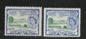 ST CHRISTOPHER NEVIS ANGUILLA 1954 QEII PICTORIAL $1.20 MNH ** BOTH SHADES