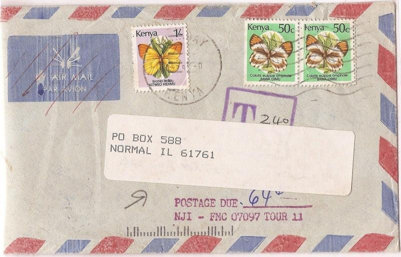 Kenya Butterfly 1/- + 50c x 2 A/M cover tax 240, post due 64c, Normal,IL (bal)