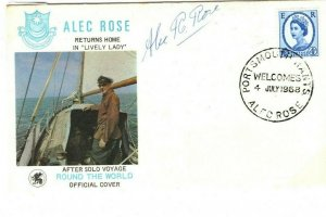 GB SAILING Cover ALEC ROSE Signed Round The World 1968 Portsmouth{samwells}00.1