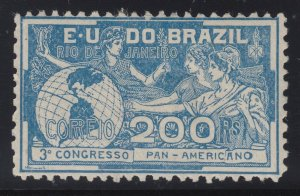 Brazil 1906 200r Blue Pan American Congress. M Mint. Scott 173