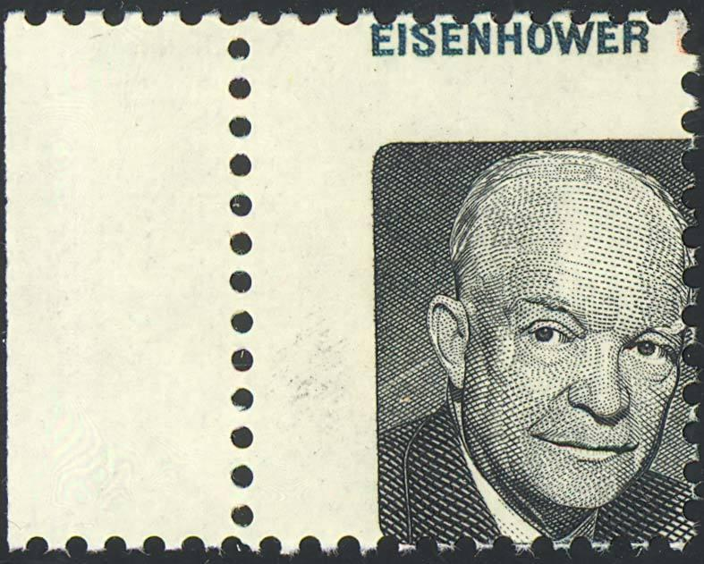 1394 Var RED COLOR 8c MISSING EISENHOWER STAMP