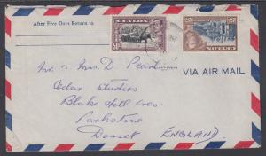 Ceylon Sc 284, 286 on 1949 Air Mail Cover to England