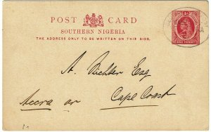 Southern Nigeria 1902 Germany Seapost Hamburg Africa cancel to Gold Coast