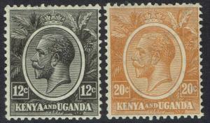 KENYA AND UGANDA 1922 KGV 12C AND 20C