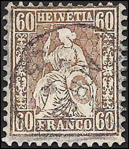 1862 SWITZERLAND  SC# 48 USED F VF SOUND CV $170.00