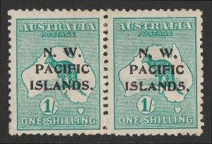 NEW GUINEA - NWPI 1915 Kangaroo 1/-, 1st wmk, pair substituted types b&c. RARE!
