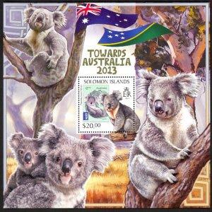 SOLOMON ISLANDS 2013 $20 KOALA Towards Australia Souvenir Sheet Sc 1305 MNH