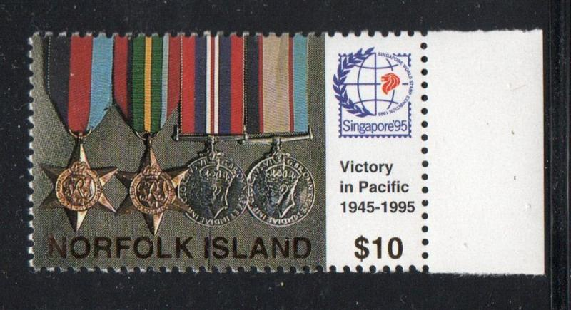 Norfolk Island Sc 591 1995 $10 Victory WW II stamp mint NH
