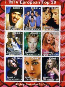 Tadjikistan 2001 MTV European Top 20 Sheet Perforated Mint (NH)