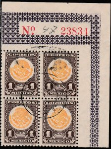 MEXICO 719, $1P COAT OF ARMS 1934 DEFINITIVE BLOCK OF FOUR.USED. F-VF. (80)